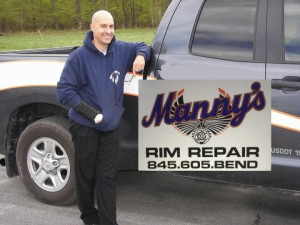 Manny repairs alloy wheels in Sugar Loaf NY